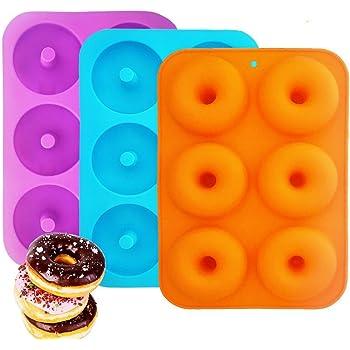 Silicone Ciambelle Stampo, IHUIXINHE 3 Pezzi Non-Bastone Pieno Cottura Sicuro Vassoio Creatore Vassoio Calore per Torta Biscotti Sacchetti Muffins (Donut)