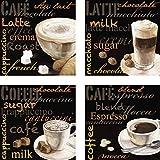 Artland Leinwand-Bild fertig aufgespannt auf Holzfaserplatte mit Motiv Jule Cappuccino, Macchiato, Coffee, Espresso - Kaffee Ernährung & Genuss Getränke Kaffee Malerei Schwarz A6PN