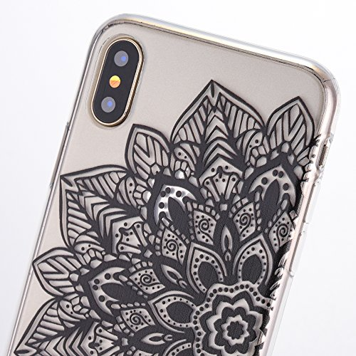 iPhone X Case, iPhone 10 Case, SICAS Amusing Whimsical Design Clear Bumper TPU Soft Case Rubber Silicone Cover for iPhone X - Pear Flower ( Pink ) HalfFlower-Blk
