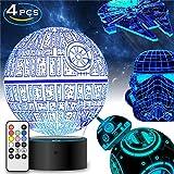 Star Wars Geschenke 3D Lampe für Männer - Star Wars Spielzeug Nachtlicht für Kinder,7 Farbwechsel mit Fernbedienung oder Touch, Dekorieren Kinder Bedroom. 2019 (4 Packs-Bigger-Heller)