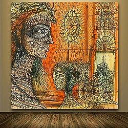 Impression sur Toile l'art De Mur,Grande Taille Vintage Abstract Art Peinture Portrait en Ligne des Tirages Photos sur Toile Posters Peinture Décorative pour Salon Salon Moderne Décoration D,8X8 Pou