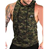 PAIZH Men's Camouflage Print Sleeveless Hoodie Bodybuilding Hooded Tank Top