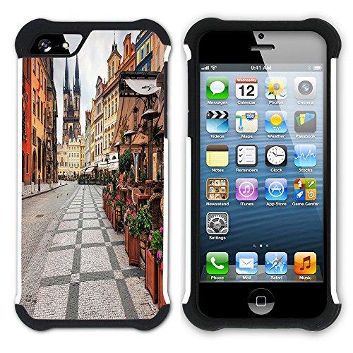 Graphic4You Prag Tschechische Republik Postkarte Aussicht Hart + Weiche Kratzfeste Hülle Case Schale Tasche Schutzhülle für Apple iPhone SE / 5 / 5S Design #15