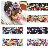 HBselect 6 Stück Stirnband mit Blumen Knot mehrfarbiges und elastisches Haarband für Baby Mädchen Kleinkind