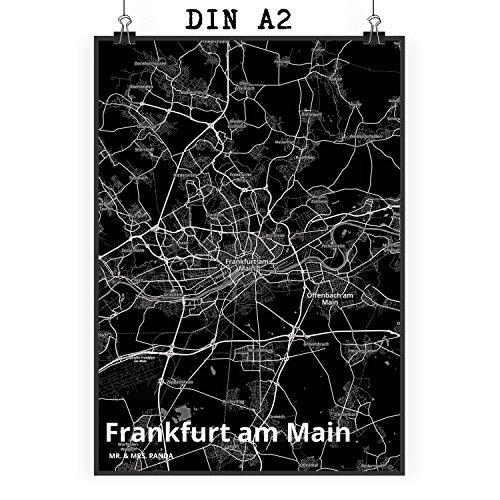 Mr. & Mrs. Panda Poster DIN A2 Stadt Frankfurt am Main Stadt Black - Stadt Dorf Karte Landkarte Map Stadtplan Bild, Wandposter, Fan, Fanartikel, Souvenir, Andenken, Fanclub, Stadt, Mitbringsel