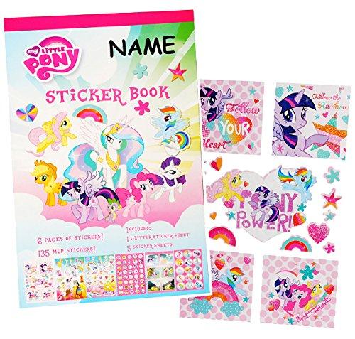alles-meine.de GmbH Block mit - Sticker / Aufkleber -  My Little Pony - Tiere  - incl. Name - für Kinder Kind / groß - mit Glitzer ! - z.B. für Stickeralbum / Stickerblock - Po.. -