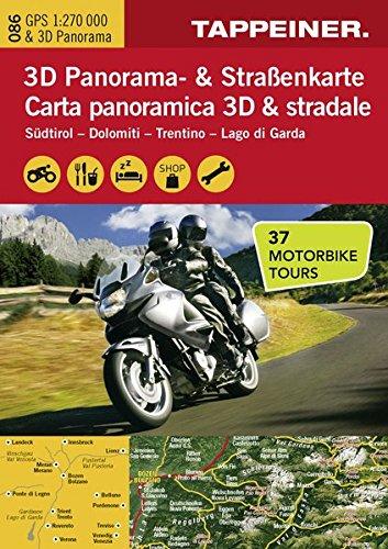 3D Panorama- und Motorradkarte - Südtirol - Dolomiten - Gardasee, Straßenkarte 1:270.000 mit großem 3D Alpenpanorama und Motorrad-Tourentipps (Straßen und Themenkarte) (Motorrad-karten)