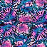 Badeanzug Stoff Blättermuster Palmen pink Stretchstoff