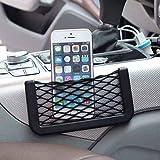#6: Stretchable Car Item Organizer Universal Side Seat Net Bag Useful Black Mesh Pocket Self Adhesive Phone Holder
