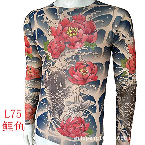 Kostüm Armee Land - tzxdbh Tattoo Tattoo Langarm T-Shirt Damen Fan Digitaldruck Boden Shirt Musik Festival Kostüm L75 鲤鱼 170CM-182CM 60KG-110KG