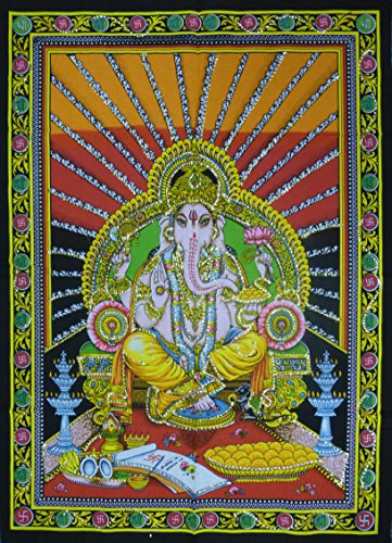 Paillettes cotone Picture Hindu Dio Ganesh da appendere alla parete-80x 110cm