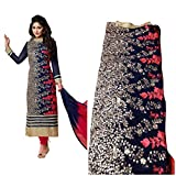 RADHEY ARTS BLUE AND RED EMBROIDERED GEO...