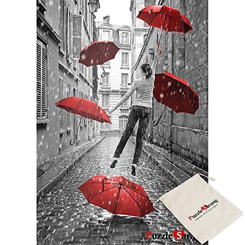 Puzzle Korea Chica Paraguas Rojos Volando Sobre Tierra