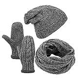 Vbiger Wintermütze Herren Mütze Winter Handschuhe Beanie Strickmütze Winterschal Warme Mützeset, Grau, Einheitsgröße