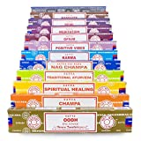 Véritable Satya Sai Baba – Nag Champa variété Mix Ensemble cadeau B 12 x 15 g Boîtes d'encens, comprend Nag Champa, Super Hit, Oodh, Positive Vibes, Namaste, Champa, Opium, Reiki, Guérison spirituelle, Karma, méditation, traditionnel ayurvédique