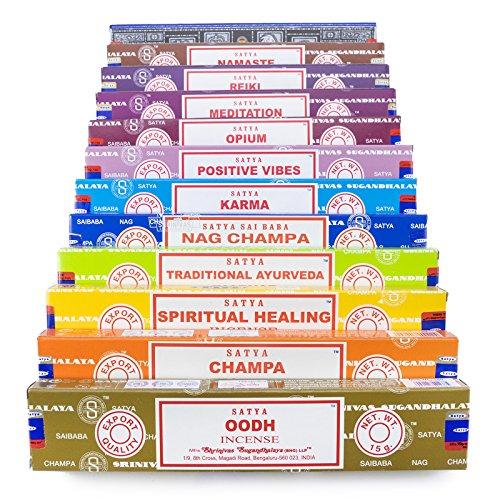 Satya Variedad Set B 12x15g cajas de incienso incluye: Nag Champa, Sup
