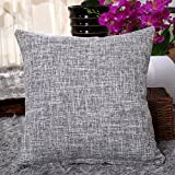 Zedtom - Coussins en coton - imprimé en lin - pour canapé vintage ou taies d'oreiller, multicolores gris