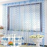 PINDIA Heart 2 Piece Polyester Thread Curtain - 6ft, Sky Blue