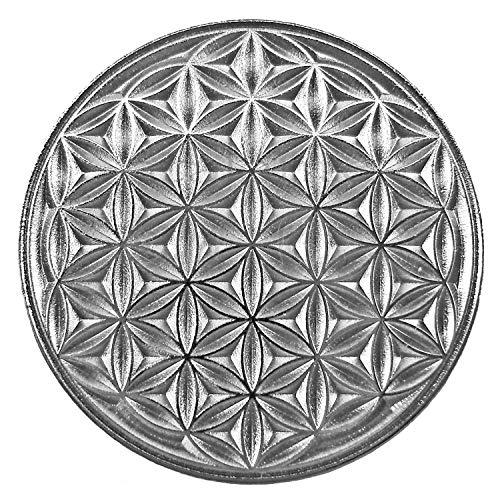 EnerChrom Blume des Lebens Neodym-Magnet-Pin   Metall-Kleider-Button Unisex   Farbe Silber   Ø 2,3 cm