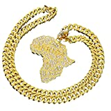 Die besten Bling Schmuck Freund Halskette Jungen und Mädchen - mcsays HipHop Ketten Kristall Gold Afrika Karte Anhänger Bewertungen