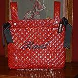 PRIMERAEDAD/Panera bolso para coche/silla bebé plastificado y personalizado con nombre, color rojo