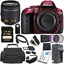 Nikon D5300 DSLR Camera With AF-P 18-55mm VR Lens (Red) + Toshiba Flash Air III Wireless SD Memory Card 16GB + Fibercloth Bundle