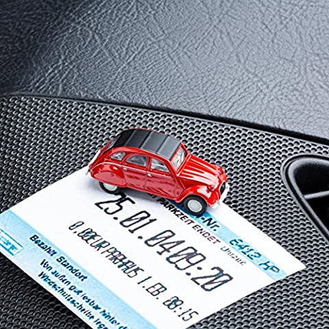 Magnetischer Parkscheinhalter für das Armaturenbrett – Modellauto mit Magnet und selbstklebender Haftscheibe – Kultauto Citroën 2CV rot