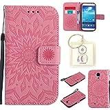 Housse Galaxy S4 I9500, Etui en PU Cuir Portefeuille Coque pour Samsung Galaxy S4 I9500 fleurs Datura Modèle Case avec Fonction Support Stand + porte-clés(T)