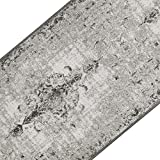 casa pura Teppichläufer im Vintage Look | brilliante Farben | Hochwertige Meterware, gekettelt | Kurzflor Teppich Läufer | Küchenläufer, Flurläufer (Grau, 80x500 cm)