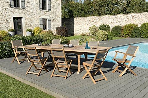 MACABANE 509611 Salon de Jardin Couleur Naturel/Taupe en Teck et Textilène Dimension