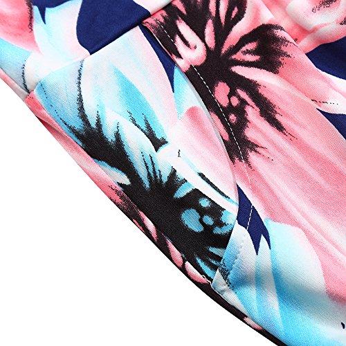 KoJooin Damen Kleider Bandeau Kleid Maxikleid Sommerkleid Blumenmuster mit Taschen Blau/Rosa