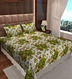 Home Candy Enticing Floral Cotton Double Bedsheet with 2 Pillow Covers - Green