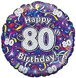 Suki Gifts S9227475 80. Geburtstag Luftschlangen Folienballon, violett