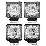 VINGO® 4 Stück27w LED Arbeitsscheinwerfer Zusatzscheinwerfer Quadrat Weiß Aluminium 6500K