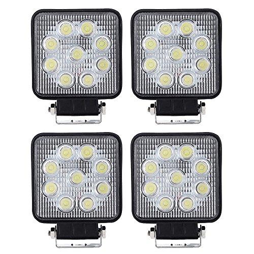 Preisvergleich Produktbild VINGO®4 Stück27w LED Arbeitsscheinwerfer Zusatzscheinwerfer Quadrat Weiß Aluminium 6500K