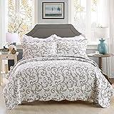 Unimmall Tagesdecke mit geblümtem Barock Muster Bettüberwurf Baumwolle Druckdessiniert Steppung Weiß Grau 230×250 cm