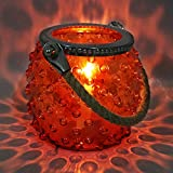 EarthenMetal Handcrafted Jar Shaped Round Blister Shaped Self Design On Surface Rusty-Orange Coloured Candle Light Holder