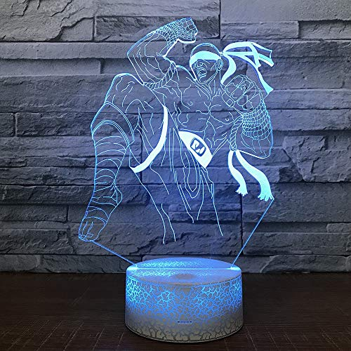 Nachtlicht Großhandel Blind Monk Nachtlicht Neue Phantasie Stereo 3D Lampe Spiel Geschenk Weiß Basis Schöne 7 Farbwechsel 3D Leuchten
