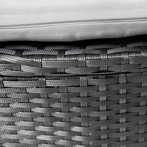 Polyrattan Sonneninsel XXL Ø 180 cm Gartenliege, Hochwertige, Rattanlounge, Liegeinsel mit Sonnendach, Kissen, Sitzauflage, (Grau) - 5