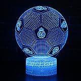 3D Illusion Nuit Lumière Win-Y LED Bureau Table Lampe 7 Couleur Tactile Lampe Maison Chambre Bureau Décor pour Enfants D'anniversaire De Noël Cadeau (Real Madrid Football)