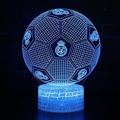 3D Lámpara de Escritorio Win-Y LED 7 del tacto del color de la lámpara del dormitorio del hogar decoración de la oficina para los niños y regalo de Navidad de cumpleaños (Fútbol Real Madrid)