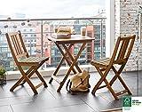SAM® Set da giardino, 3 pezzi, mobile da balcone in legno massiccio d'acacia, 1 tavolo + 2 sedie, pieghevole, oleato, belle venature, certificato FSC® 100%