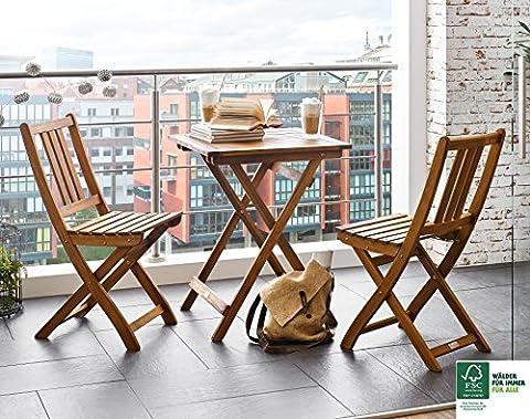 SAM® Gartengruppe, 3tlg., Balkongruppe aus Akazienholz, FSC® 100% zertifiziert, 1 x Tisch + 2 x Stuhl, geölt, Garten-Tischgruppe, schöne Maserung, massives Holz, klappbar, Sitzgruppe aus