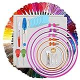 Cozywind Punto Croce Kit 100 Colori Matassine Punto Croce Ricamo Set per Principianti Fai da Te Cucitura a Croce Usato per Ricamo (Kit Two)