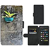 PU Leder Wallet Case Folio Schutzhülle // M00290368 Negative Space Blumentopf // Amazon Fire Phone