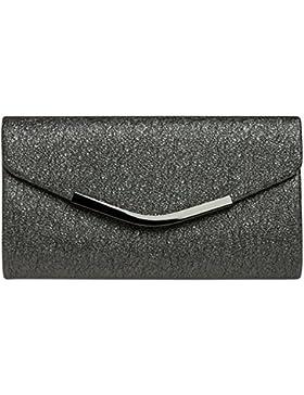 CASPAR TA370 elegante Damen Envelope Clutch Tasche / Abendtasche mit langer Kette