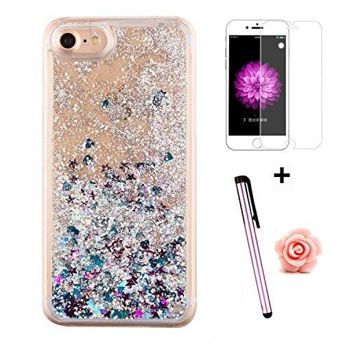 Custodia per iPhone 7 Case,Cover per iPhone 7,TOYYM - Love Heart Star Crystal Case Cover, Resistente Chiaro Trasparente [Bling Liquid] con divertente liquido flottante 3D con lussiosi glitter per iPho Color 32#