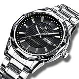 Herren Uhren Männer Wasserdichte Luxus Edelstahl Schwarz Armbanduhr Herrenuhr Casual Business Kalender Datum Analog Scratch Beweis Wolfram Stahl Fall