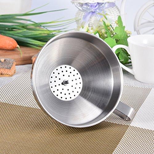 Edelstahl Trichter mit abnehmbarem Sieb Filter für Küche Kochen ätherischen Ölen und flask-filling Vorratsdosen F:24cm - 4