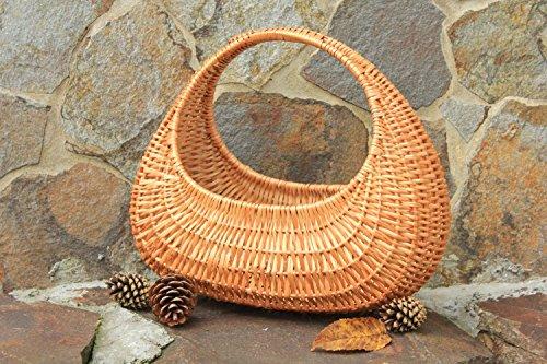 Cestino intrecciato fatto a mano cestino profondo di vimini con maniglia